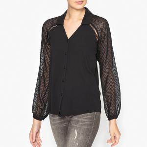 Рубашка из двух материалов IKKS. Цвет: черный