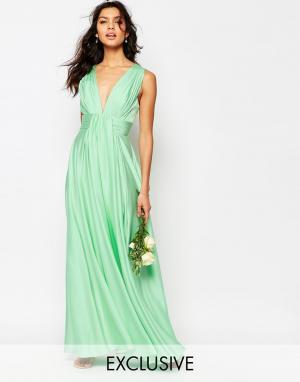 Fame and Partners Атласное платье макси Valencia. Цвет: зеленый