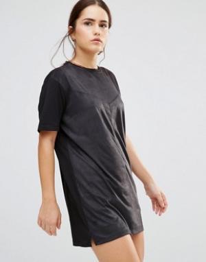 Uncivilised Платье в замшевом стиле Nevada. Цвет: черный