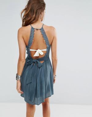 Surf Gypsy Пляжное платье с ажурной отделкой. Цвет: синий