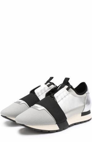 Комбинированные кроссовки Race с эластичной лентой Balenciaga. Цвет: серебряный