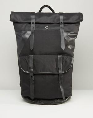 Stighlorgan Парусиновый рюкзак ролл-топ с кожаной отделкой Ronan. Цвет: черный