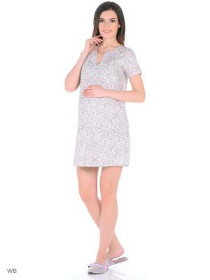 Ночная сорочка для беременных и кормящих ФЭСТ. Цвет: белый, коричневый