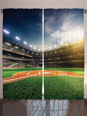 Комплект фотоштор Бейсбольное поле, 290*265 см Magic Lady. Цвет: бежевый, оранжевый, белый, черный, синий, коричневый, голубой
