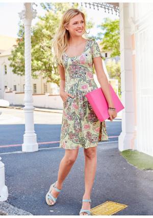 Платье CHEER. Цвет: светло-желтый/розовый/зеленый/цвет белой шерсти с рисунком