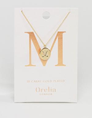 Orelia Позолоченное ожерелье с инициалом М на подвеске-диске. Цвет: золотой