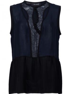 Топ Lace Placket Yigal Azrouel. Цвет: синий