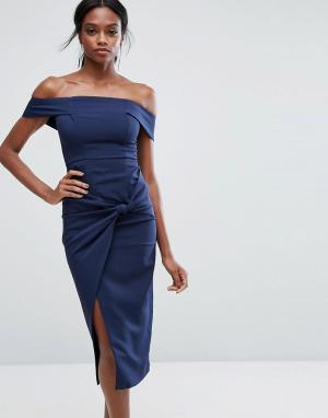 Lavish Alice Платье миди с широким вырезом и узлом. Цвет: темно-синий