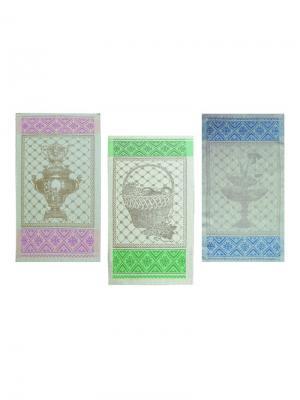 Набор полотенец из 3-х шт. Купец-3 Белорусский Лен. Цвет: зеленый, фиолетовый, синий