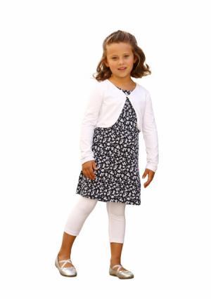 Комплект: болеро + платье легинсы KIDOKI. Цвет: темно-синий/белый+белый