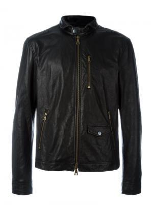 Кожаная куртка на молнии John Varvatos. Цвет: чёрный