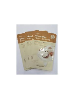 Набор тканевых масок для лица (масло Ши) REAL NATURЕ ,3шт*20г The Face Shop. Цвет: белый