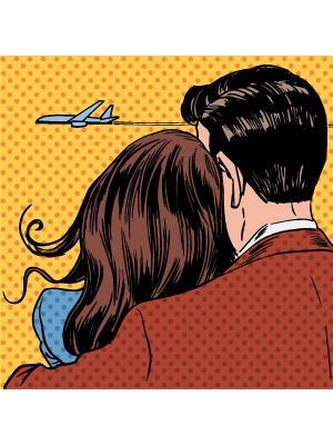 Картина Пара любовь Ecoramka. Цвет: черный, коричневый, синий