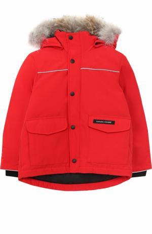 Пуховая куртка Lynx с меховой отделкой на капюшоне Canada Goose. Цвет: красный