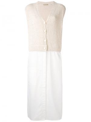 Трикотажное платье с V-образным вырезом Nehera. Цвет: белый