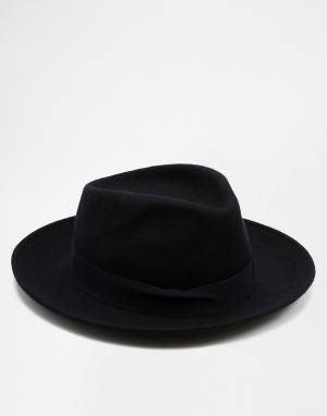 Catarzi Мягкая шляпа с плоской круглой тульей и широкими полями. Цвет: темно-синий