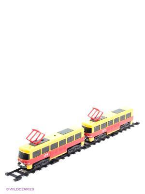 Железная дорога Трамвай Играем вместе. Цвет: красный, желтый