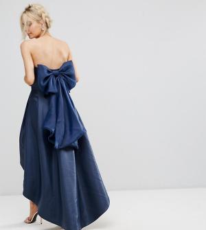 Chi London Petite Платье-бандо миди с бантом на спине. Цвет: темно-синий