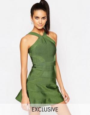 Wow Couture Бандажное приталенное платье. Цвет: зеленый