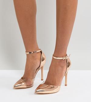 Truffle Collection Виниловые туфли-лодочки для широкой стопы. Цвет: медный