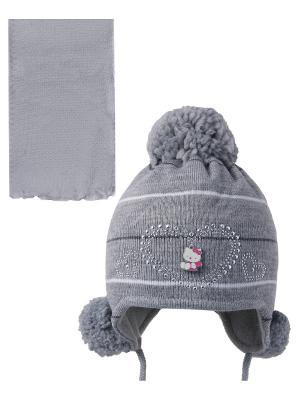 Шапка; шарф Ambra. Цвет: серый