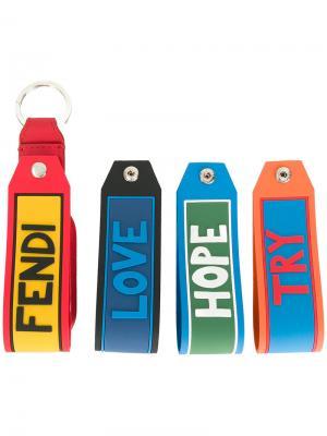 Комплект из 4 брелков Vocabulary set Fendi. Цвет: многоцветный