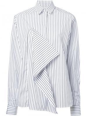 Полосатая рубашка с оборками Each X Other. Цвет: белый