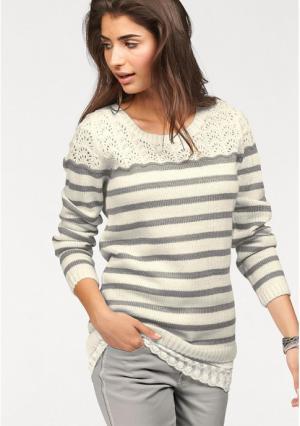 Пуловер BOYSENS BOYSEN'S. Цвет: цвет белой шерсти/серый в полоску