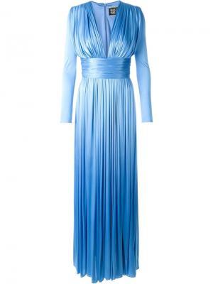 Вечернее платье c V-образным вырезом Fausto Puglisi. Цвет: синий
