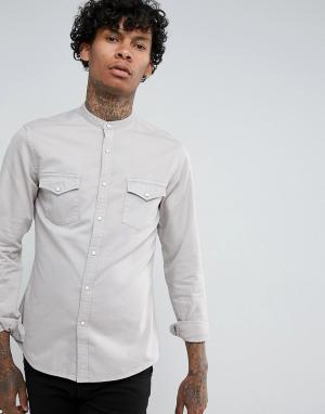 ASOS Серая эластичная джинсовая рубашка узкого кроя в стиле вестерн с ворот. Цвет: серый