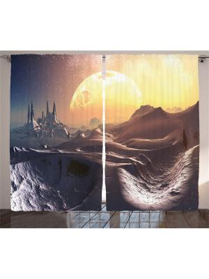 Комплект фотоштор для гостиной Рассвет на серой планете, 290*265 см Magic Lady. Цвет: серый, желтый, оранжевый