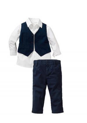 Комплект: рубашка + жилет брюки. Цвет: белый/темно-синий