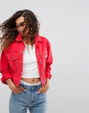 ASOS Красная джинсовая куртка. Цвет: красный