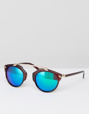 7X Коричневые солнцезащитные очки с синими затемненными стеклами. Цвет: коричневый