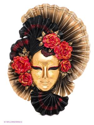 Венецианская маска Пионы Veronese. Цвет: золотистый, черный, красный
