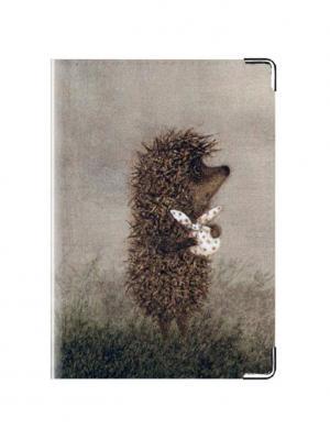Обложка для паспорта кожа Ежик с узелком Tina Bolotina. Цвет: серо-коричневый, светло-серый