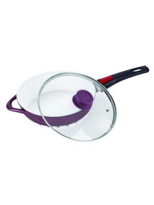 Сковорода с крышкой, антипригарным покрытием 3,8л. Barton Steel. Цвет: темно-фиолетовый