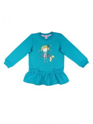 Платье типа туника для девочки Cherubino. Цвет: бирюзовый
