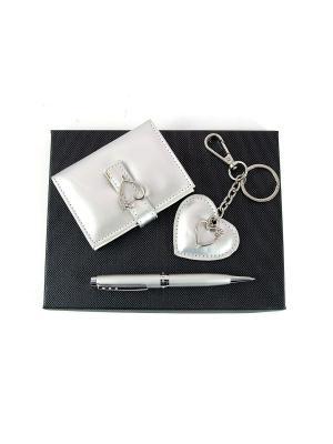 Подарочный набор: ручка, визитница, брелок Русские подарки. Цвет: серебристый