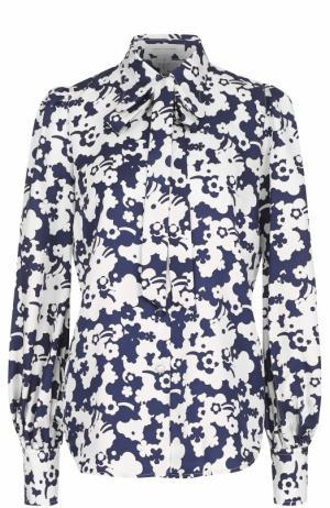 Шелковая блуза с бантом и принтом Marc Jacobs. Цвет: разноцветный