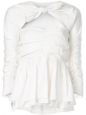 Блузка с дизайном со сборкой Isa Arfen. Цвет: белый