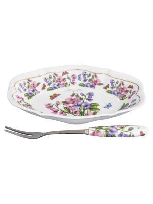 Тарелка для снеков Душистый горошек Elan Gallery. Цвет: розовый, зеленый, фиолетовый