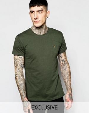 Farah Эксклюзивная футболка слим с логотипом F. Цвет: зеленый
