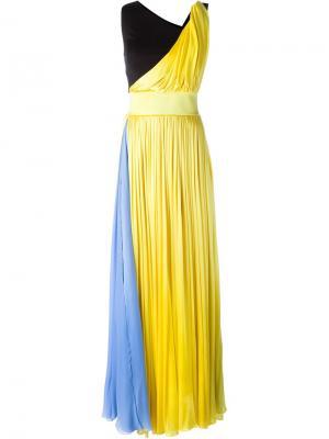 Длинное платье дизайна колор-блок Fausto Puglisi. Цвет: жёлтый и оранжевый