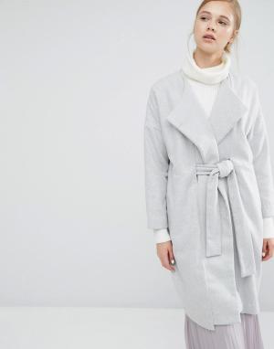 Paisie Пальто-кокон с запахом и поясом. Цвет: серый