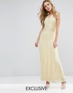 Maya Платье макси с отделкой Vintage. Цвет: желтый