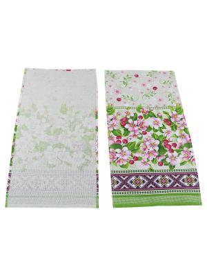 Набор полотенец Рогожка Римейн. Цвет: зеленый, розовый