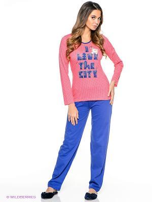 Пижама Vienetta Secret. Цвет: розовый, синий