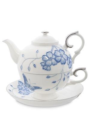 Чайный набор Голубая бабочка (Pavone) Pavone. Цвет: белый