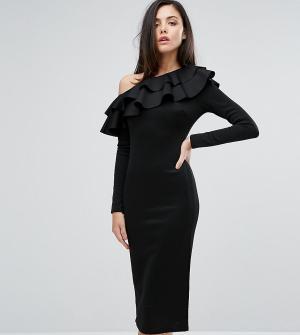 Club L Платье миди на одно плечо с длинными рукавами и оборками. Цвет: черный